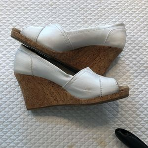 Toms White Cork Wedge One for One Shoes 6-1/2